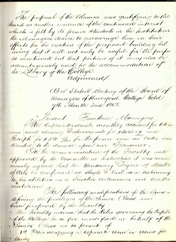 Minutes of the Board of Managers, 4th mo., 2nd, 1858
