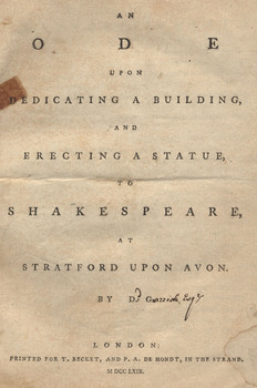 <em>An Ode upon Dedicating a Building and Erecting a Statue to Shakespeare at Stratford upon Avon</em>